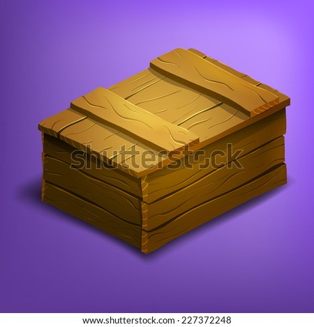 Wooden box. Vector illustration. - stock vector