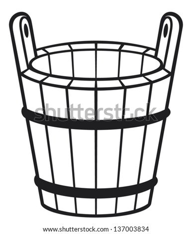 wooden bucket - stock vector