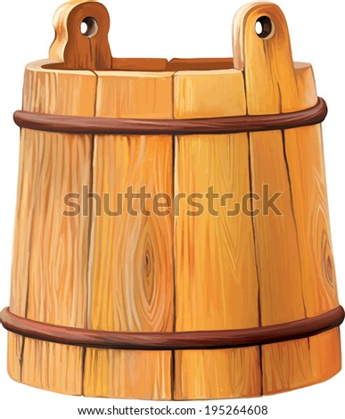 wooden bucket, Antique wood bucket isolated over white - stock vector