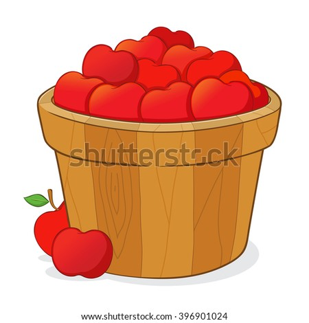 Wooden bucket full of a ripe delicious red apples, vector illustration - stock vector