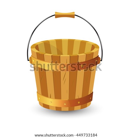 Wooden bucket with handle on white background.