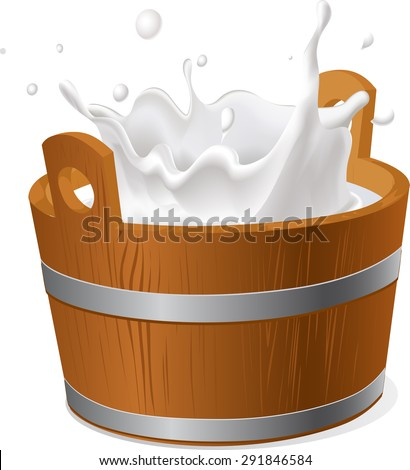 wooden bucket with milk splash isolated on white  - vector illustration - stock vector