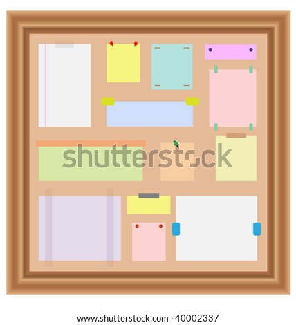 wooden bulletin board with papers. jpg version in my gallery.