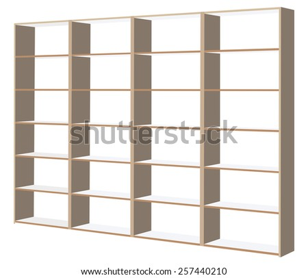Wooden cabinet with shelves on a white background - stock vector