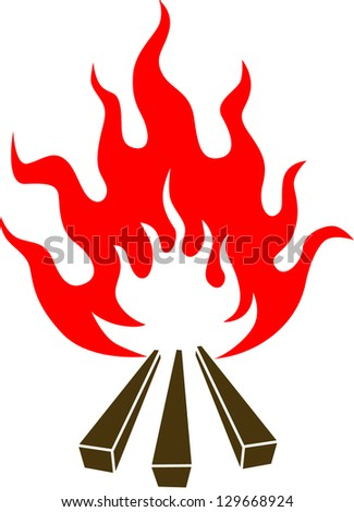 Wooden camp fire - stock vector