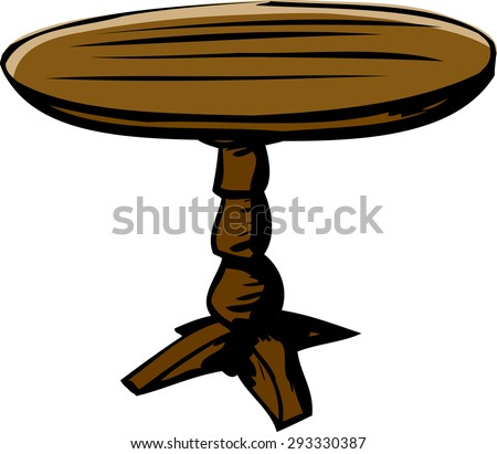 High Quality Wooden Cartoon Round Table Over White Background