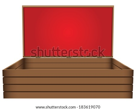 Wooden casket with velvet cloth. Vector illustration. - stock vector
