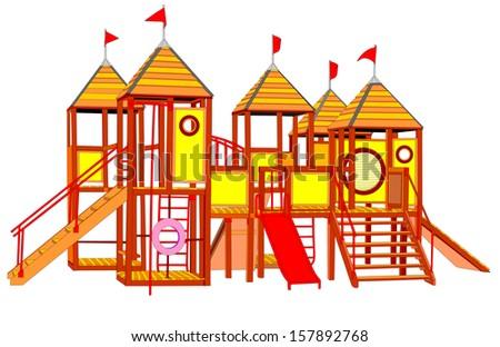 Wooden castle vector. Children playground illustration isolated on white background. - stock vector