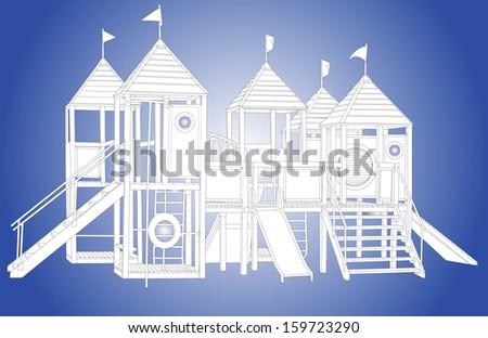 Wooden castle vector. White children playground illustration isolated on blue background.  - stock vector