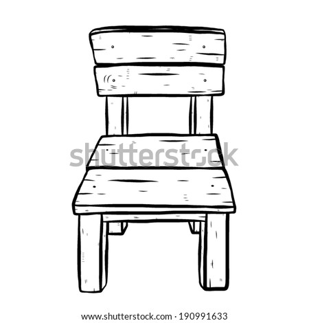 Wooden Chair Cartoon Vector And Illustration Black White Hand Drawn Sketch