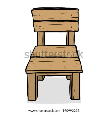 Wooden Chair Cartoon Vector And Illustration Hand Drawn Style Isolated On White Background