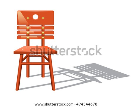 Wooden chair isolated on white background. Vector illustration.