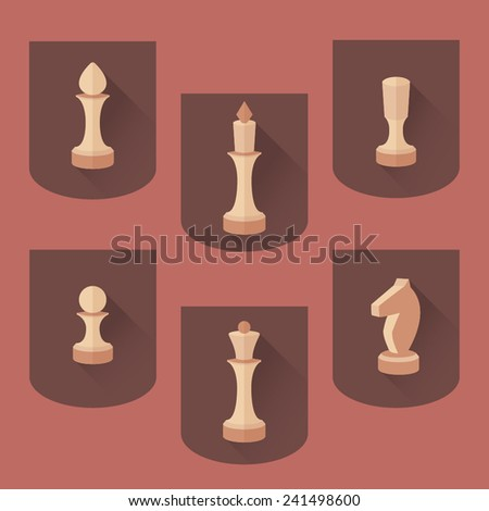 Wooden chess flat vector white set - stock vector