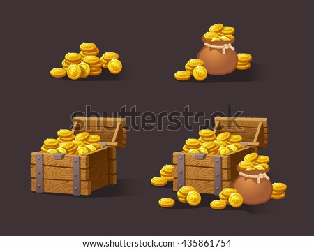 Wooden Chest set for game interface. Vector illustration. treasure of gold coins on dark background: closed, empty, chestes with golden coin.Icons cartoon coins for web. Stack,bag. - stock vector