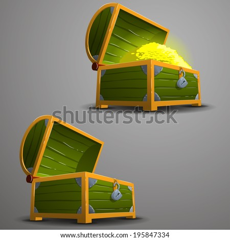 Wooden chest with gold coins and empty wooden chest.Vector illustration. - stock vector