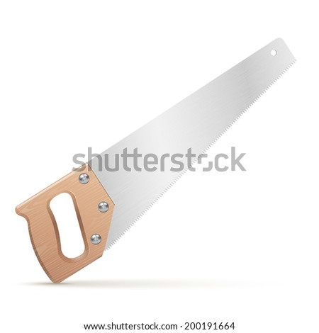 Wooden classic handsaw isolated on white background. Vector illustration - stock vector