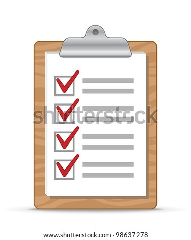 Wooden clipboard with a sheet of paper. Checklist. Vector Illustration - stock vector