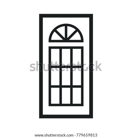 Wooden Closed Front Door Entrance Modern Interior Design. Minimal Flat Line Outline Stroke Icon Illustration