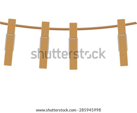 wooden clothespins on rope vector illustration isolated on white background - stock vector