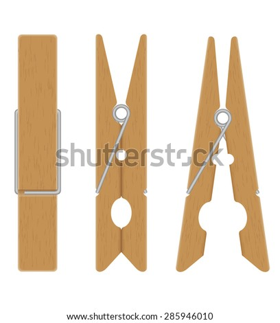 wooden clothespins vector illustration isolated on white background - stock vector