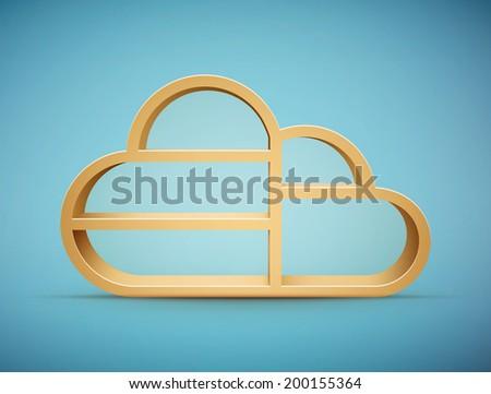 wooden cloud shelf eps10 vector illustration - stock vector