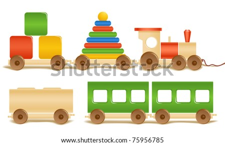 Wooden color toys. Pyramid, train, cubes - stock vector
