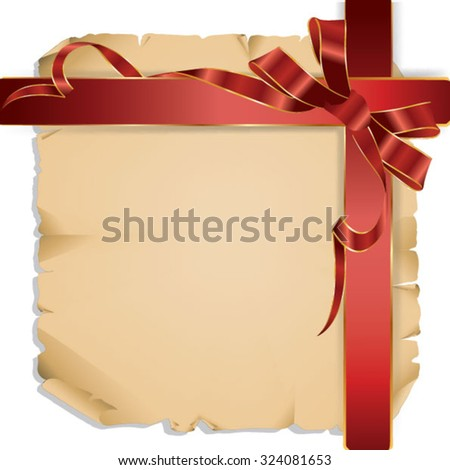Wooden corner the decorated ribbon and bow. Vector illustration