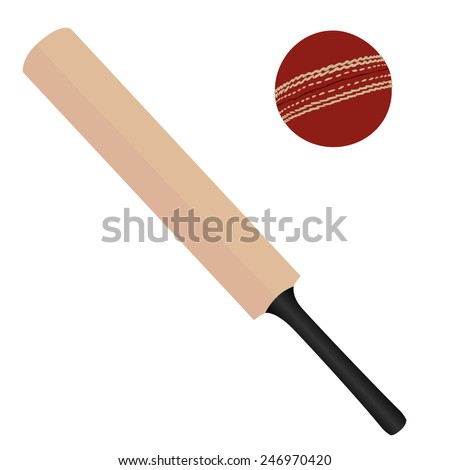 Wooden cricket bat and red cricket ball vector isolated, sport equipment - stock vector
