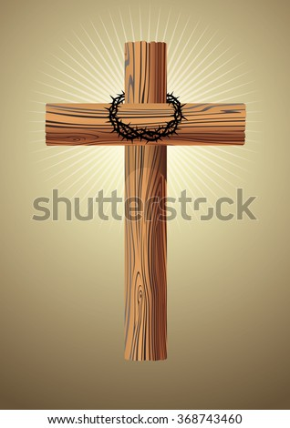 Wooden Cross and Thorn Crown - stock vector