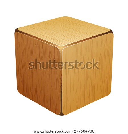wooden cube. box 10eps - stock vector