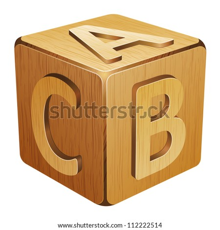 wooden cube with letters A,B,C 10eps