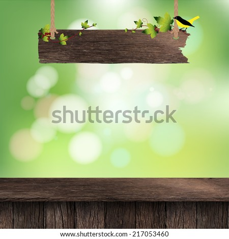 Wooden deck table with hanging wooden sign on foliage bokeh background, Vector illustration template design  - stock vector