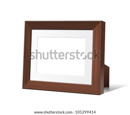 wooden desktop picture and photo frame isolated on white. vector 3D - stock vector