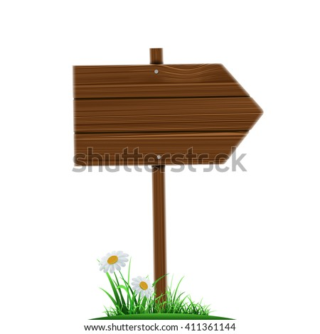 Wooden direction pointer. Road sign isolated on a white background. Stock vector illustration. - stock vector