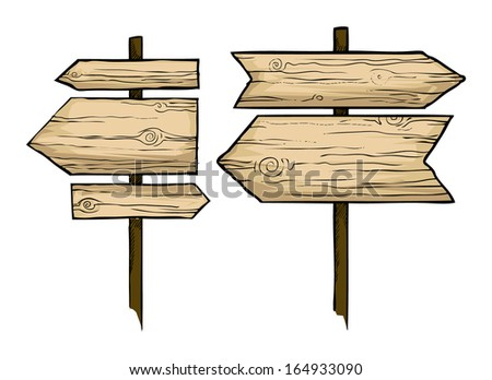 Wooden direction signs, vector illustration - stock vector