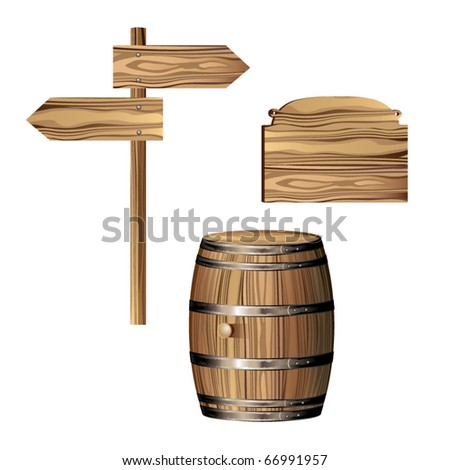 Wooden directional sign and barrel - stock vector