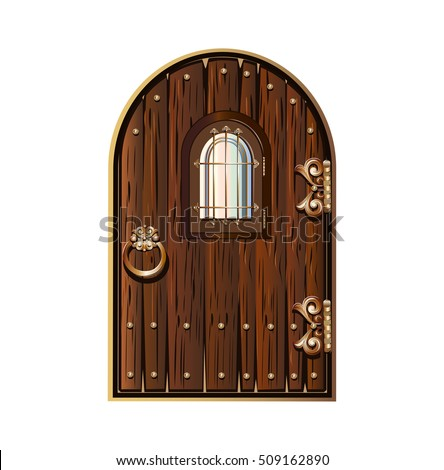 wooden door with window decorated with gold elements