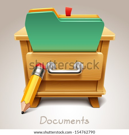 Wooden drawer illustration for documents icon - stock vector