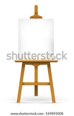 Wooden easel with blank canvas - stock vector