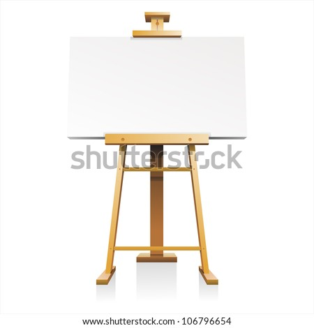 wooden easel with blank canvas isolated on white background vector - stock vector