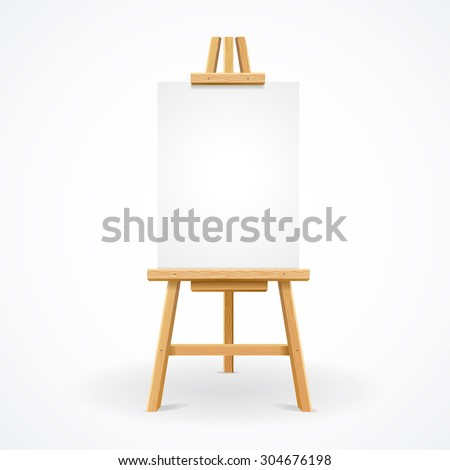 Wooden easel with blank space ready for your advertising and presentations. Vector illustration - stock vector