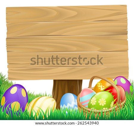 Wooden Easter Egg Sign with a basket hamper full of eggs - stock vector