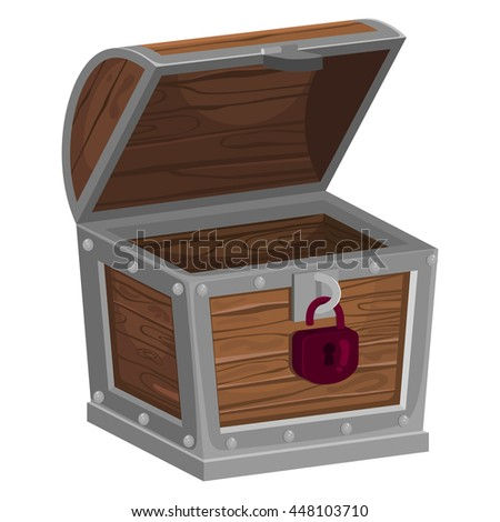 Wooden empty treasure chest with open lid, vector illustration isolated on white background.