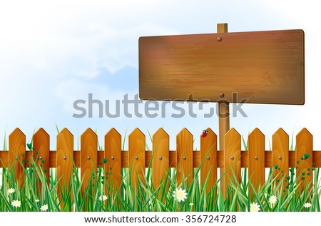 Wooden fence and blank sign on spring meadow with grass and flowers and blue sky with clouds - place for your text. Vector illustration. - stock vector