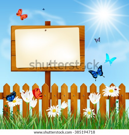 Wooden fence and blank sign on summer meadow with grass, daisy flowers, butterflies and blue sky with sun and clouds - place for your message. Vector illustration. - stock vector