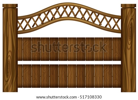 wooden fence design on white