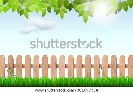 Wooden fence, grass, tree branch and sky with sun and clouds - vector illustration - stock vector
