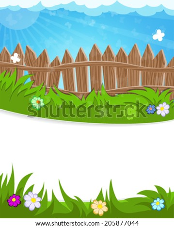 Wooden fence on green meadow. Summer landscape nature. - stock vector
