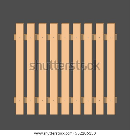 Wooden fence. section. vector illustration