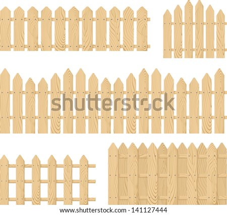 wooden fence vector set isolated on white background, place the design side-by-side to create an endless border